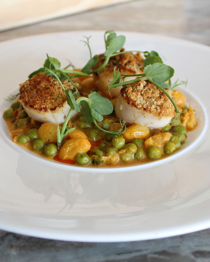 Lemon & Pistachio Crusted Seared Barra Scallops